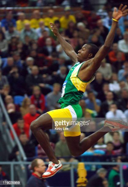 Godfrey Khotso Mokoena of South Africa was fifth in the men's long jump in a national record 26-3 1/2 in the IAAF World Indoor Championships in...