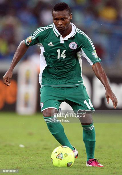 Godfrey Oboabona of Nigeria during the 2013 African Cup of Nations SemiFinal match between Mali and Nigeria at Moses Mahbida Stadium on February 06...