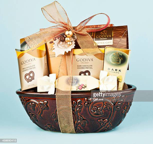 godiva chocolate gift basket - basket stock photos and pictures