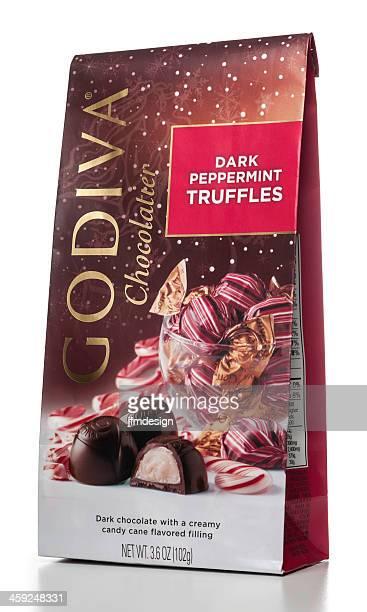 godiva chocolatier dark peppermint truffles - lady godiva stock pictures, royalty-free photos & images
