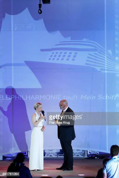 Godmother Iveta Apkalna wearing an outfit by Max Mara Elegante and Stephan Zimmermann during the naming ceremony of the cruise ship 'Mein Schiff 6'...