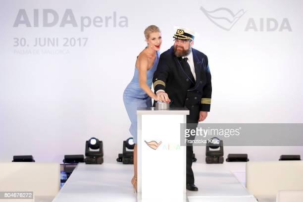Godmother Lena Gercke and captain Boris Becker christen the AIDAperla Cruise Ship on June 30 2017 in Palma de Mallorca Spain