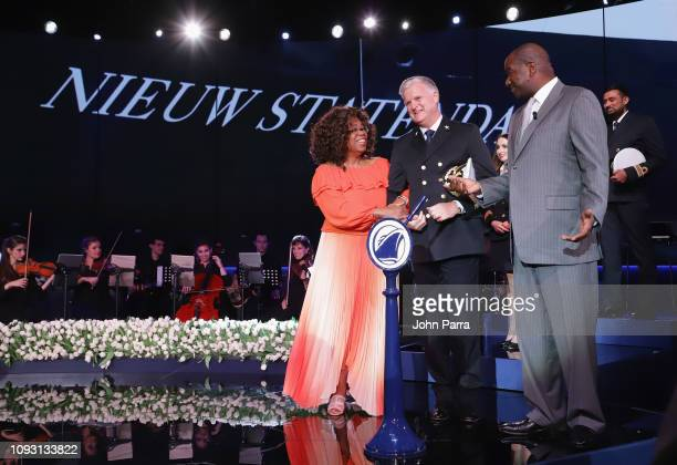 Godmother Oprah Winfrey, Captain Sybe de Boer and President Holland America Line Orlando Ashford speak onstage during the Holland America Line and...