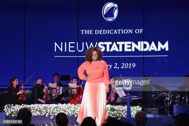 Godmother Oprah Winfrey speaks onstage during the Holland America Line and Nieuw Statendam Dedication with Godmother Oprah Winfrey at Port Everglades...