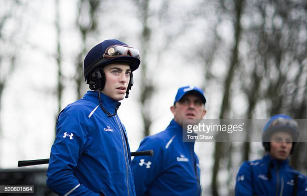 Godolphin Jockey James Doyle trainer Charlie Appleby and Jockey William Buick look on during the morning trackwork at the announcement of the...