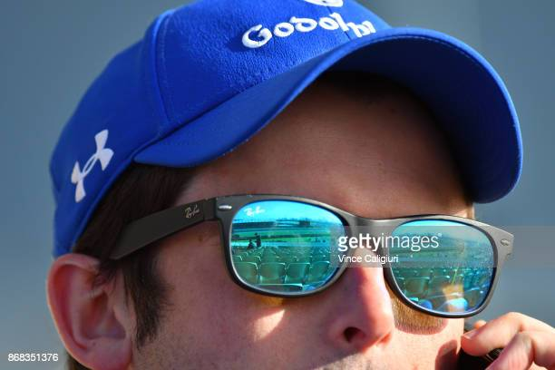 Godolphin trainer James Cummings is seen during a trackwork session at Flemington Racecourse on October 31 2017 in Melbourne Australia