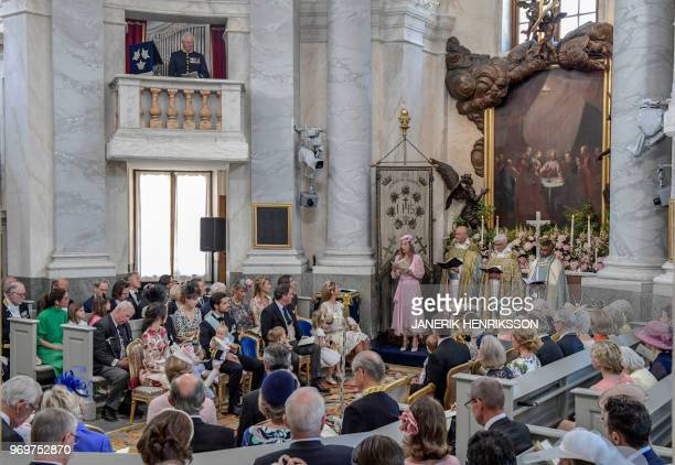 Godparent Anouska D'Abo reads during Princess Adrienne's christening ceremony in Drottningholm Palace Chapel in Stockholm Sweden on June 8 2018...