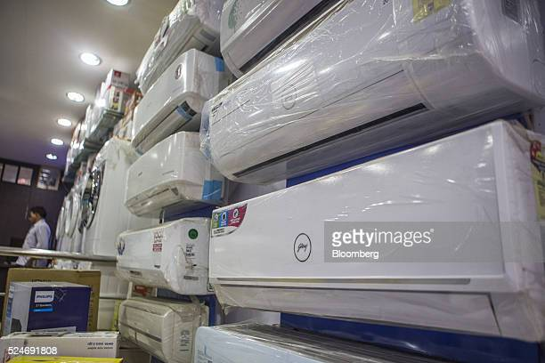 Godrej Group airconditioning units are seen at an electronics store in New Delhi India on Sunday April 24 2016 Godrej is scheduled to release...