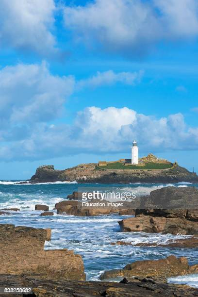 Godrevy Lighthouse near Gwithian in Cornwall, England, UK.