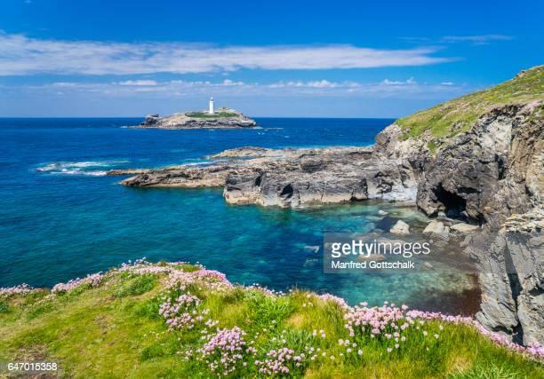 godrevy-portreath heritage coast cornwall - rocky coastline stock pictures, royalty-free photos & images