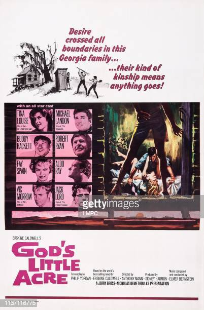 God's Little Acre poster US poster art left row from top Tina Louise Buddy Hackett Fay Spain Vic Morrow right row from top Michael Landon Robert Ryan...