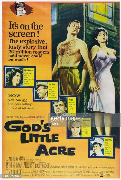 God's Little Acre poster US poster top from left Aldo Ray Tina Louise left from top Tina Louise Robert Ryan Aldo Ray Fay Spain Buddy Hackett 1958