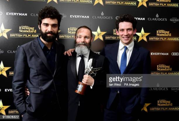 God's Own Country director Francis Lee and stars Alec Secareanu and Josh O'Connor with the Everyman Award for Best Film at the Evening Standard...
