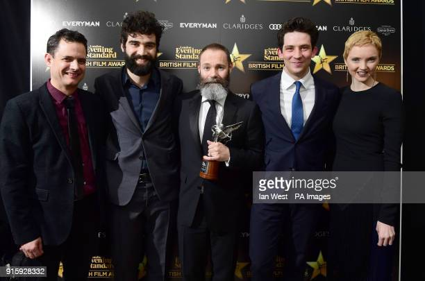 God's Own Country director Francis Lee and stars Alec Secareanu and Josh O'Connor with the Everyman Award for Best Film presented by Crispin Lilly...