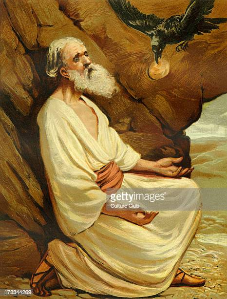 God's ravens feeding Elijah the prophet by the brook Cherith during the drought and famine Illustration by Philip R Morris