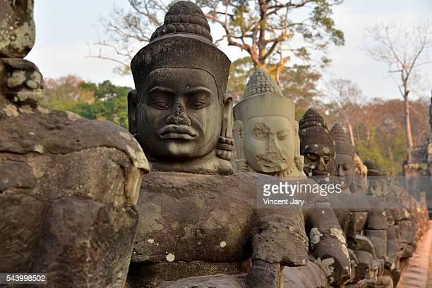Gods statues alignment Southgate Angkor Siem Reap Cambodia