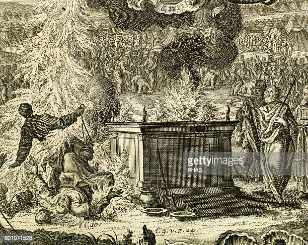 God's vengeance against the sons of Aaron Nadab and Abihu Leviticus Chapter 10 Engraving