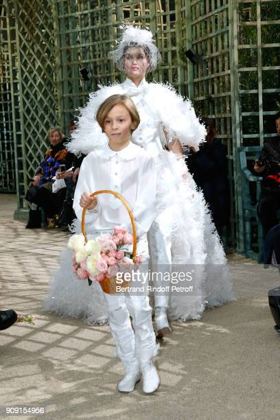 Godson of Karl Lagerfeld Hudson Kroenig walks the runway at the end of the Chanel Haute Couture Spring Summer 2018 show as part of Paris Fashion Week...
