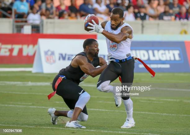 Godspeed defensive back Josh Wilson reaches to tug a flag from Fighting Cancer center Robert Myers during the American Flag Football League Ultimate...