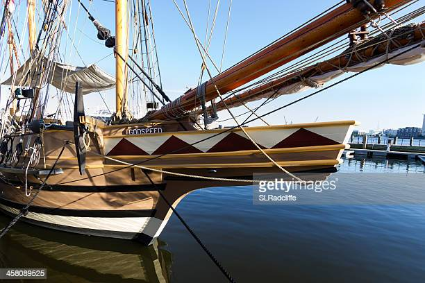 hms godspeed, rigged as a barque, tied to the pier. - norfolk virginia stock photos and pictures