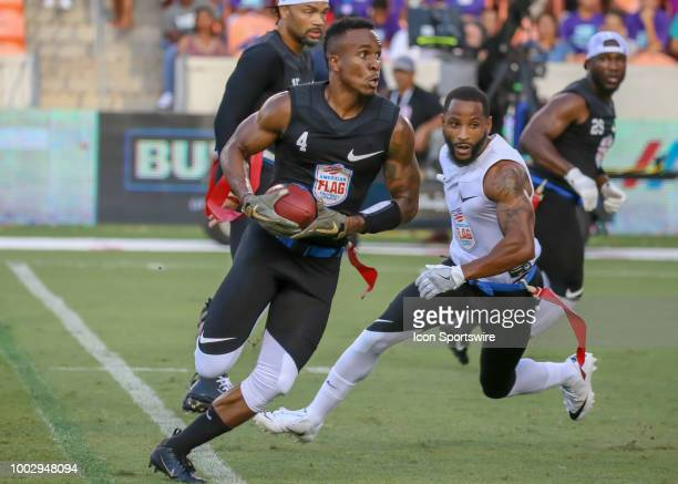 Godspeed running back Jahvid Best carries the ball during the American Flag Football League Ultimate Final game between the Fighting Cancer and...