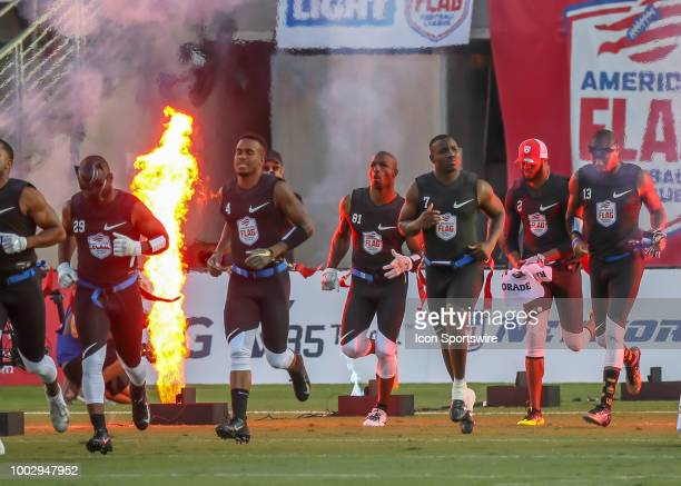 Godspeed team enters the field during the American Flag Football League Ultimate Final game between the Fighting Cancer and Godspeed on July 19 2018...