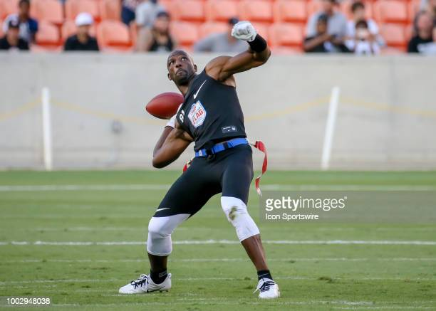 Godspeed wide receiver Jason Avant prepares to make a throw during the American Flag Football League Ultimate Final game between the Fighting Cancer...