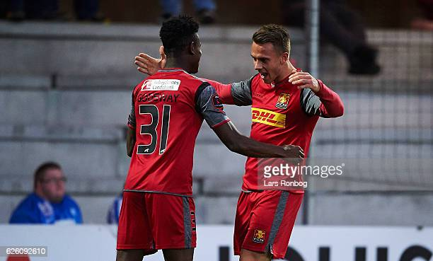 Godsway Donyoh and Marcus Ingvartsen of FC Nordsjalland celebrate after scoring their first goal during the Danish Alka Superliga match between...