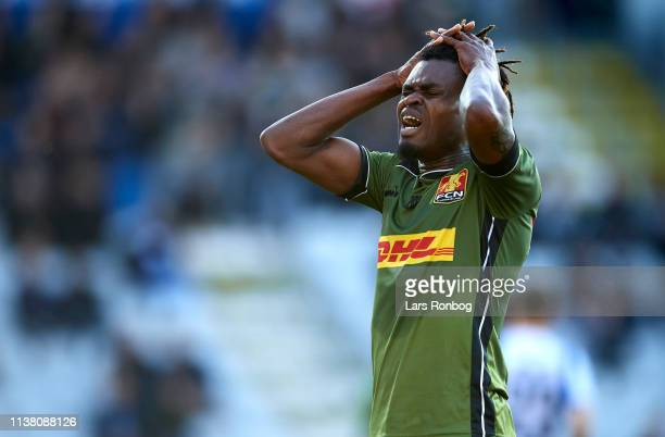 Godsway Donyoh of FC Nordsjalland shows frustration during the Danish Superliga match between OB Odense and FC Nordsjalland at Nature Energy Park on...