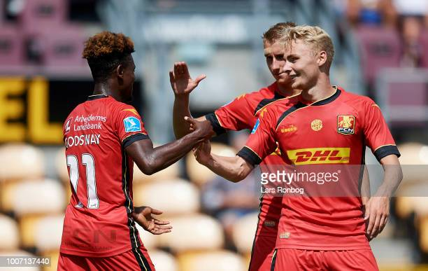 Godsway Donyoh Ulrik Yttergard Jenssen and Victor Nelsson of FC Nordsjalland celebrate after scoring their third goal during the Danish Superliga...