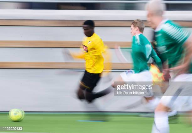 Godswill Ekpolo of BK Hacken during the Svenska Cupen group stage match between BK Hacken and IK Brage at Bravida Arena on February 16 2019 in...
