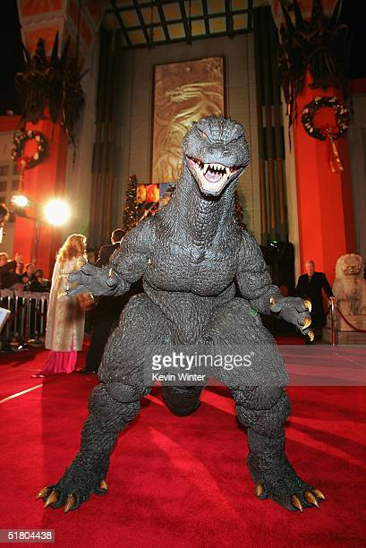 Godzilla arrives at the premiere of 'Godzilla Final Wars' at the Chinese Theatre on November 29 2004 in Los Angeles California