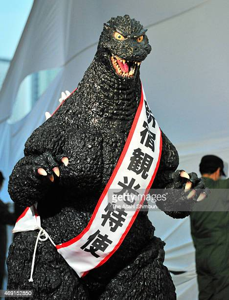 Godzilla is appointed as the tourism ambassador of the Shinjuku Ward on April 9 2015 in Tokyo Japan The shopping complext building which contains...