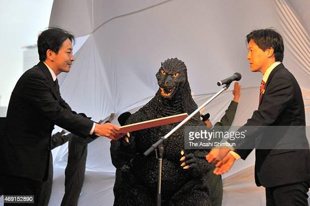 Godzilla receives a special certificate of Shinjuku Ward residenceon April 9 2015 in Tokyo Japan