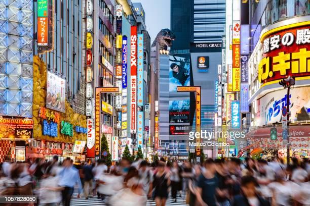 godzilla road at night, shinjuku, tokyo, japan - shinjuku stockfoto's en -beelden
