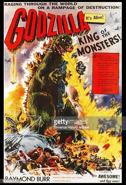 'Godzilla' starring Raymond Burr the 1956 Japanese/American black and white science fiction film adapted from the 1954 Japanese film Godzilla