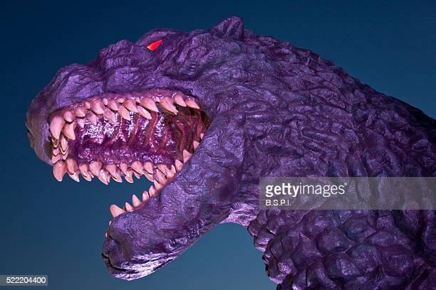 Godzilla Statue at Twilight Atop Toho Cinema in the Shinjuku Kabukicho District of Tokyo, Japan