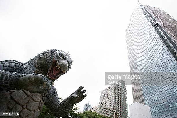 A Godzilla statue is seen in TokyoThe 66 meters statue of Godzilla is displayed in Midtown Park in Tokyo to promote the coming new Godzillas movie on...