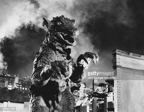 A Godzillalike creature runs amok in London in the film Gorgo
