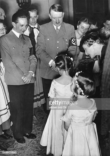 Goebbels Joseph Politician NSDAP Germany *29101897 during Goebbels 40 birthday together with Adolf Hitler his two daughters Helga and hilde and his...