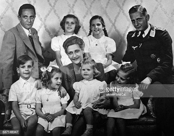 Goebbels Joseph Politician NSDAP Germany with his wife Magda and their children from left Helga Hilde stepson Harald Quandt Hellmut Holde Hedda and...