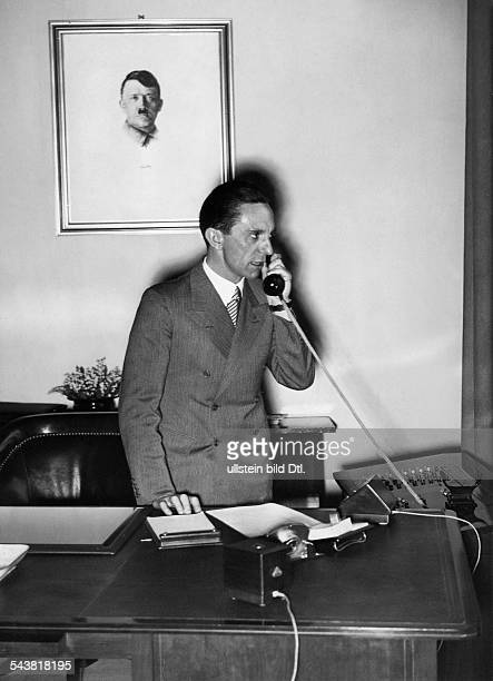 Goebbels, Joseph - Politician, NSDAP, Germany*29.10.1897-+- giving an interview to a Japanese newspaper for the grand opening of the phone connection...