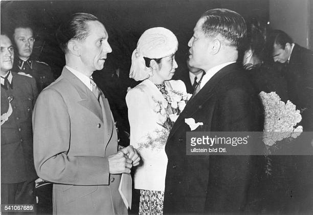 Goebbels, Joseph - Politician, NSDAP, Germany*29.10.1897-+- talking with Japanese ambassador Hiroshi Oshima on the occasion of the premiere of the...