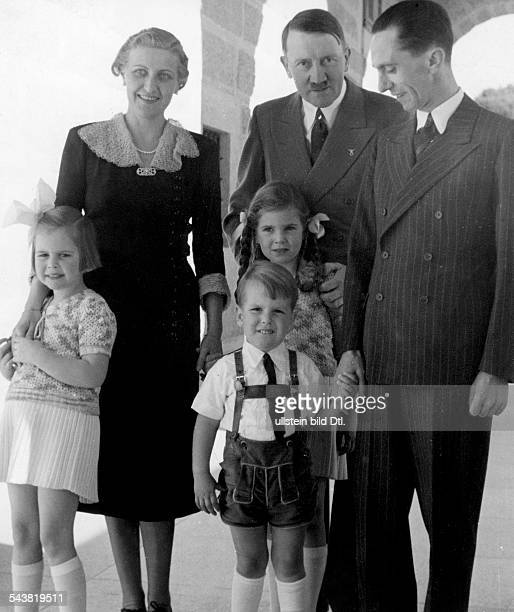 Goebbels Joseph Politician NSDAP Germany*29101897 with his wife Magda the children Hilde Hellmut and Helga at Adolf Hitler's Berghof at the...