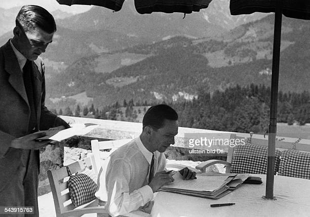 Goebbels Joseph Politician NSDAP Germany*29101897 working during his holidays at the Berghof / Obersalzberg Photographer PresseIllustrationen...