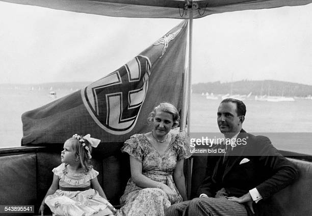 Goebbels Magda Wife of J Goebbels Germany* with Prince Umberto II of Savoyen and her daughter Hilde during a boat trip on the Wannsee in Berlin...