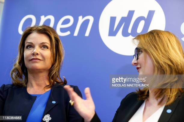 Goedele Liekens and Open Vld chairwoman Gwendolyn Rutten pictured during a press conference to present the Open Vld list for the upcoming elections...