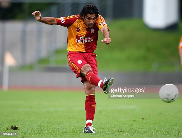 Goekhan Zan of Galatasaray shoots the ball during the Zayon Cup match between Galatasaray Istanbul and Wydad AC Casablanca at the Lorheide stadium on...
