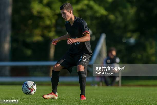 Goektan Guerpuez of Germany controls the Ball during the international friendly match between Germany U19 and England U19 at Salinenstadion on...