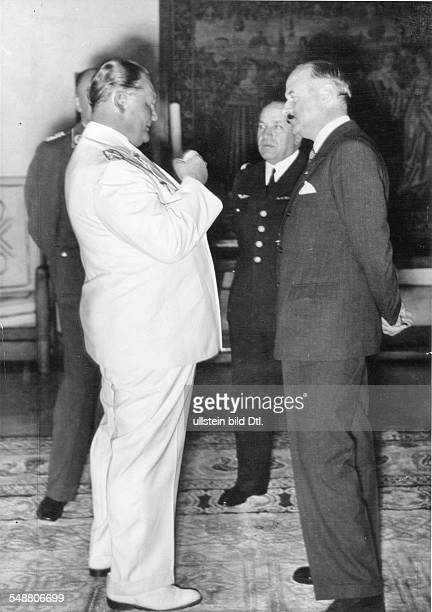 Goering Hermann Politician NSDAP Germany *12011893 Goering speaking to General Joseph Vuillemin at Carinhall on the right french ambassador Andre...